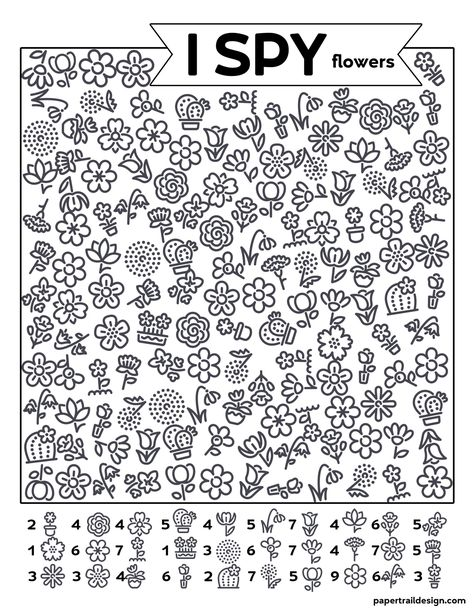 Free Printable I Spy Flowers Activity - Paper Trail Design Party Activities, Activities For Kids, Spy Kids, Hidden Pictures, Paper Trail, I Spy, Business For Kids, Worksheets For Kids, Kids Learning