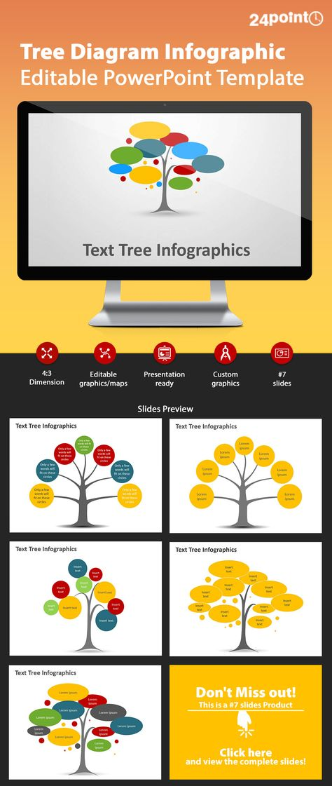 Tree Diagram - Editable PowerPoint Template PowerPoint Templates - tree diagram template