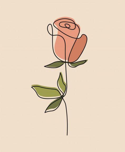 Una línea continua de flores, dibujo de ... | Premium Vector #Freepik #vector #flor #hoja #linea #rosa