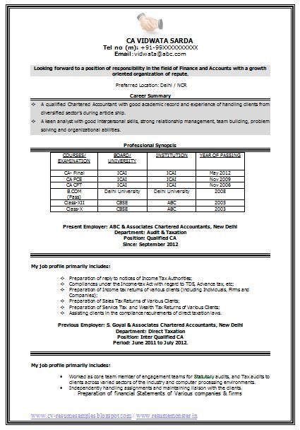Ca Resume Template In 2020 With Images Best Resume Format