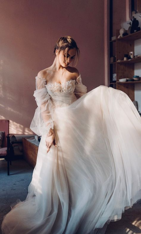 Savanna by Boom Blush, A-line Tulle Wedding Dress. Dreamy Wedding Gown with Detachable Long Sleeves, Floral Lace, Off the Shoulder, 2020 Floral Wedding Gown, Dream Wedding Dresses, Bridal Dresses, Unique Wedding Gowns, Couture Wedding Gowns, Victorian Wedding Dresses, Wedding Dress Corset, Ball Gown Wedding Dresses, Mormon Wedding Dresses