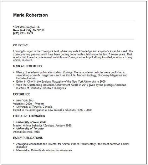 Zoology Resume Examples Good Resume Examples Resume Examples Resume Template Examples