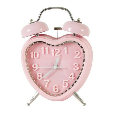 Adeco Back-to-School Sale Sweet Pink Heart Vintage-Inspired Table Top Alarm Clock with Double Bells Plastic Home Decor Pink Clocks, Vintage Alarm Clocks, Tabletop Clocks, Mantel Clocks, Pink Home Decor, Pink Home Furniture, Cute Room Decor, Aesthetic Room Decor, Aesthetic Objects