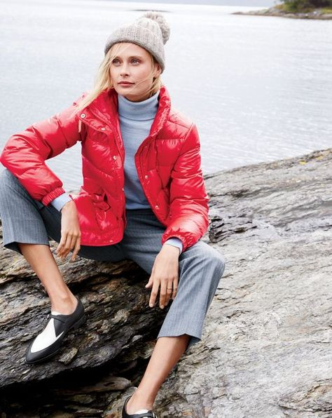85baa9dd7163 J.Crew women s shiny puffer jacket, Collection pleated crop pant in  pinstripe, and two tone loafers. To preorder call 800 261 7422 or email ...