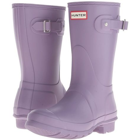 Hunter Original Short Women's Rain Boots (190 CAD) ❤ liked on Polyvore featuring shoes, boots, short boots, bootie boots, ankle boots, wellington boots and hunter boots