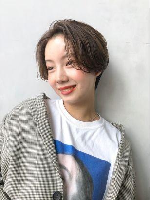 2019年夏 ショート 前髪なし センターパートショートの髪型 ヘア