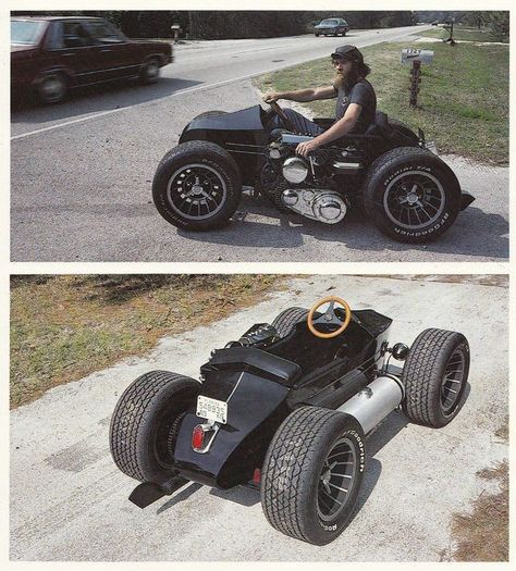 Pretty sure it& a belt, but either way it& pretty cool. I don& know the whole story, but that& a sidecar with four wheels and a bike motor strapped to it. Looks like it would be tons of fun Custom Motorcycles, Custom Bikes, Custom Cars, Cars And Motorcycles, Mini Bike, Mini Buggy, Pedal Cars, Go Kart, Car Car