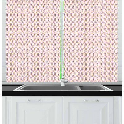 Creative Colorful Mermaid Scales Kitchen Curtain Window Drapes 2 Panels 55x39 Window Treatments Hardware Garden Curtains