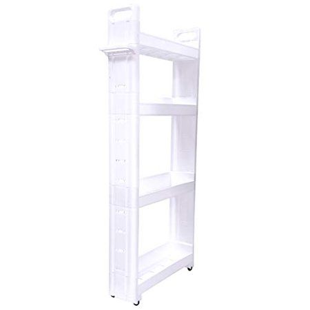 Adorn Home Essentials 4 Tier Narrow Storage Cart Pull Out Slide