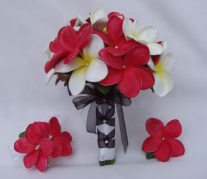 Red And White Plumeria Bridal Bouquet With Faux Pearls Bridal Bouquet Plumeria Bouquet Wedding Flowers