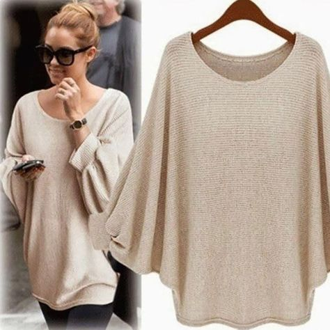 Sweaters | Tan Beige Poncho Sweater Knit Squared Fringed