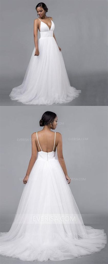 abe2023ce76b Sexy White V-Neck Open Back Tulle Wedding Dresses Affordable Bridal Gown