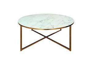Couchtisch Alisma Beistelltisch Tisch Glas Weiss Marmoroptik Und