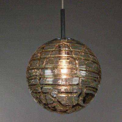 alte Doria Glas Ball Pendel Lampe 30cm Leuchte Vintage 60er