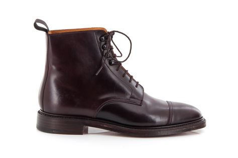 Harlech, a straight cap derby boot made from Shell Cordovan leather and  double leather soles with a storm welt. | To Wear | Pinterest | Man boots