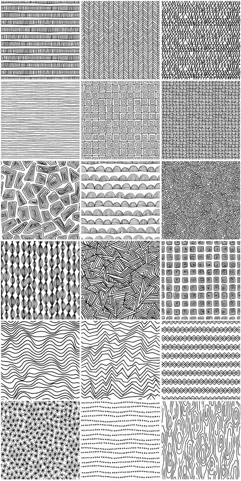 Set of 18 unique hand drawn patterns in different colors. All these patterns are seamless. You can easily change colors. Black and white version included. Doodle Art Designs, Doodle Patterns, Zentangle Patterns, Designs To Draw, Doodle Art Drawing, Zentangle Drawings, Art Drawings, Black Pen Drawing, Abstract Pencil Drawings
