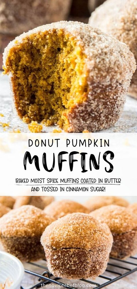Have you ever heard of Donut Pumpkin Muffins? Try them this fall! This recipe is easy to whip up, featuring moist spiced pumpkin muffins that are baked, coated in butter, then tossed in cinnamon sugar. Enjoy this dessert warm and fresh out of the oven! Save this pin!
