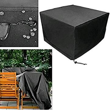 Garden Table Furniture Cover Heavy Duty Square Black Fire Pit Cover Outdoor Garden Dustproof Garden Furniture Covers Waterproof Furniture Furniture Covers