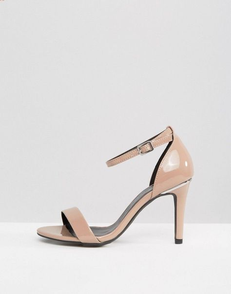 New Look Wide Fit Patent Barely There Heeled Sandal Beige
