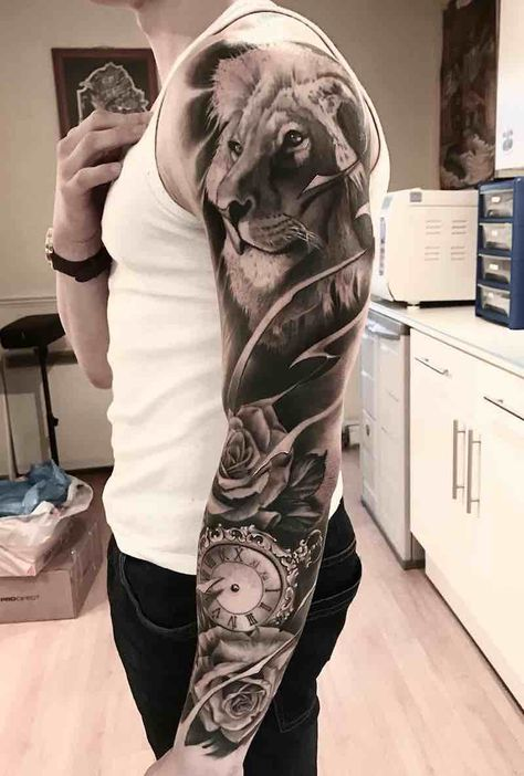 Lion Black and Grey Tattoo Sleeve by Aleksandras Kuznecovas sleeve tattoos Best Sleeve Tattoos - Tattoo Insider