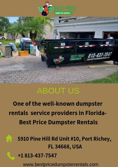 Leading Dumpster Rentals Service Provider In Florida In 2020 Dumpster Rental Dumpster Rental