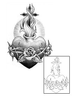 Religious & Spiritual tattoo   SAF-00100 #heart #stencil #tattoo This Fire – Flames tattoo design from our Miscellaneous tattoo category was created by Sage O`Connell. This tattoo design comes with a printable full size color reference, and tattoo-able matching stencil. Tattoo Johnny stencils use only original artist line work.