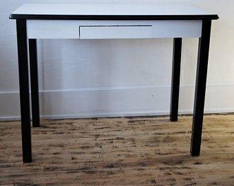 Enamel Top Kitchen Table Hoosier Table Metal Wood Desk 1940 S Furniture Edit Listing Etsy Top Kitchen Table Wood Desk Home Decor