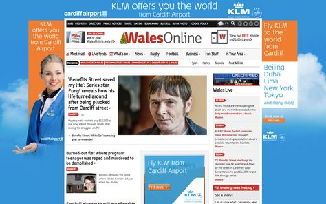 We Organised A Homepage Takeover On Wales Online For Client Klm And Cardiff Airport For The First Day Back To Work After Th Cardiff Airport Campaign Web Banner