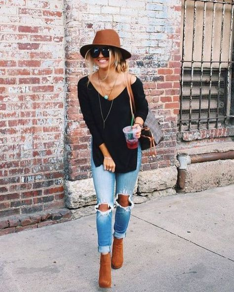 15 Cute Fall Outfits And Trends To Copy This Season - Source by brunch outfit Boho Outfits, Outfits With Hats, Casual Summer Outfits, Trendy Outfits, Cute Outfits, Spring Outfits, Autumn Outfits, Fashion Outfits, Hipster Outfits