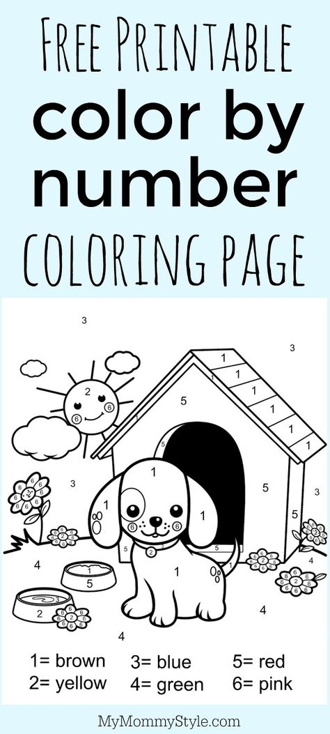color-by-numbers-dog-coloring-page-for-kids color by number - copy coloring pages to color free online