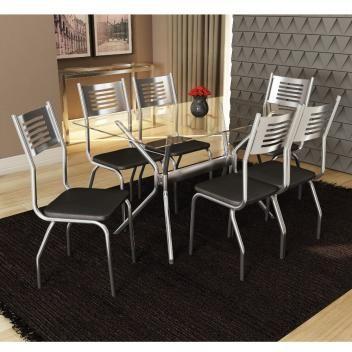 Conjunto Mesa 1 40m Com 6 Cadeiras Tampo De Vidro Kappesberg