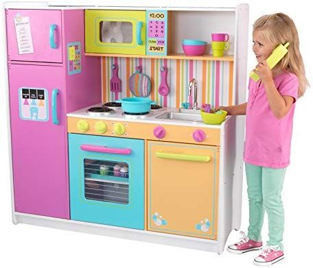 Amazon Com Kidkraft Deluxe Big Bright Kitchen Toys Games Toy Kitchen Kitchen Sets For Kids Toys For Little Kids