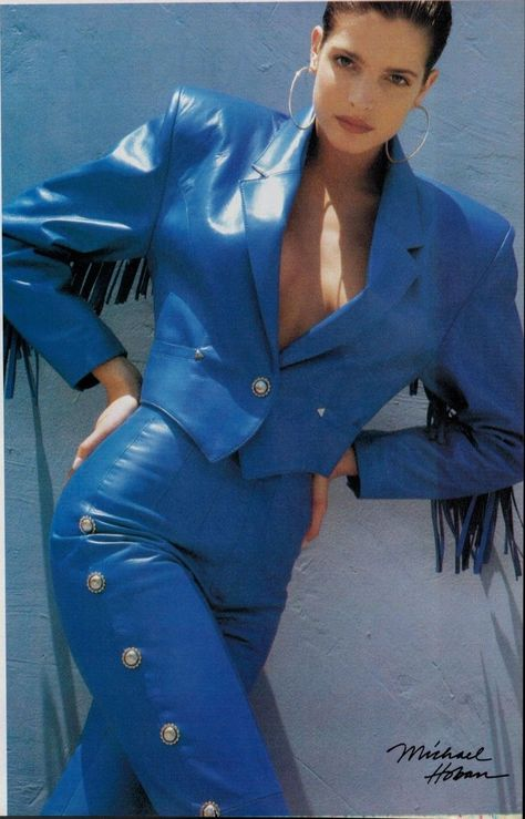 Body hugging leather jacket and skirt from the Fall 1988 North Beach Leather catalog.