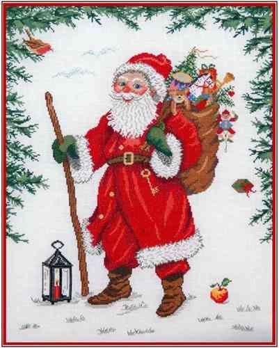 Weihnachtsmann Draussen Vom Walde Kreuzstich Stickvorlage Kreuzstich Stickvorlagen Kreuzstich Stickvorlagen
