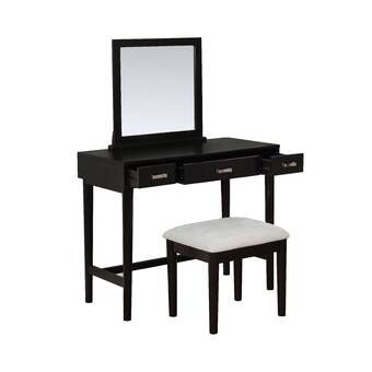 Heitz Vanity Set With Mirror Bedroom Vanity Set Black Vanity Set Linon Home Decor