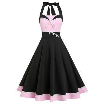 Retro A Line Color Block Halter Dress Vintage Dresses Casual Dresses For Women Halterneck Dress