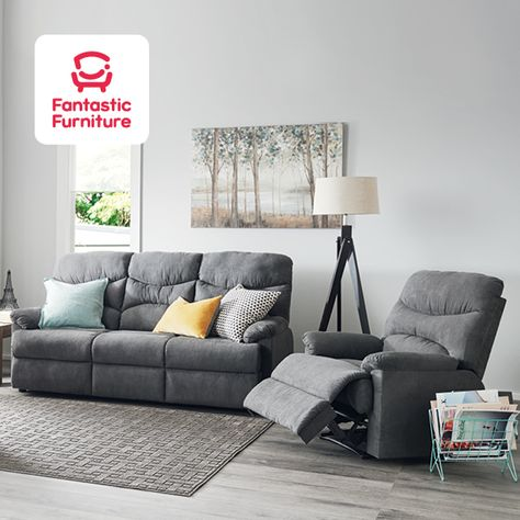 Enjoy The Spacious Comfort And Sleek Design Of The Jones Reclining Suite With A 3 Seater Sofa And 2 Single Recliners With Images Lounge Suites Sofa Set Three Seater Sofa