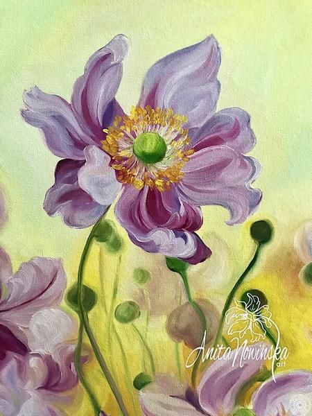 Custom Anemone Oil Impasto Original Painting Choose Your Color And Size Anemone Flowers Floral Painting Acrylic Painting Flowers Flower Painting