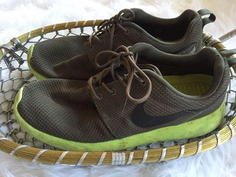 ca74b83bc23a Nike Roshe Run Men s Shoes Running Sz 9 Tarp Green Deep Smoke Volt  Lightweight
