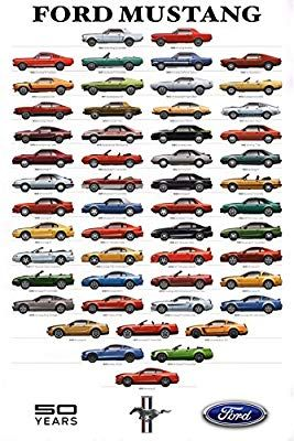 Amazon Com Ford Mustang Timeline Poster 29x44 Race Car Poster
