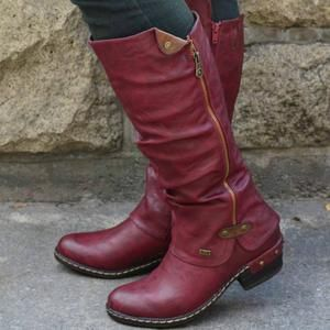 Fashion Women Side Zipper Leather Long Boots Pinshoesnow Punk Boots Knee Boots Boots