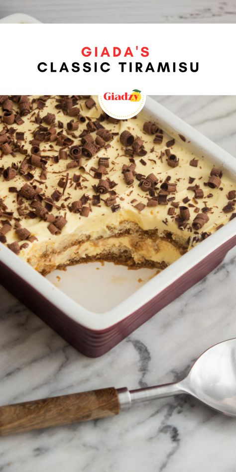This is my go-to classic tiramisu, with flavors of mascarpone and espresso at the forefront. You can make this dish up to 3 days in advance, cover it in the fridge, and shave fresh chocolate over right before serving. The combination of cool, creamy mascarpone and potent espresso and rum is irresistible after a big meal. Somehow, you can always find room for a little tiramisu, no matter how full you are!