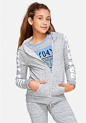 Logo Sleeve Zip Up Hoodie Justice Clothing Outfits Girl Sweatshirts Girl Sleeves