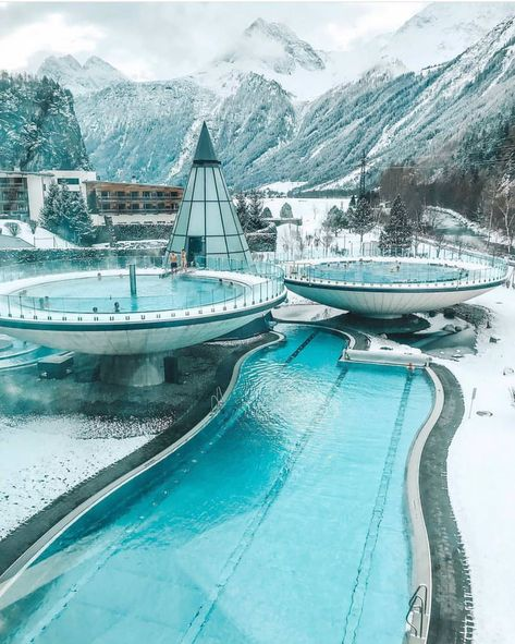 The perfect thermal spa ☃️❄️😍 Aqua Done in Tirol, Austria. Photo by Pilotmadeleine Oh The Places You'll Go, Places To Travel, Travel Destinations, Places To Visit, Unique Honeymoon Destinations, Luxury Boat, Luxury Travel, Tirol Austria, Vienna Austria