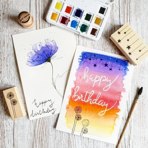 Bon Anniversaire Happy Birthday Cartes En Aquarelle Aquarelle