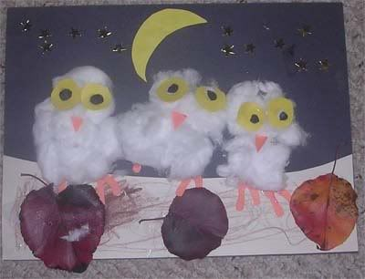Cotton Ball Owl baby art by Remy.