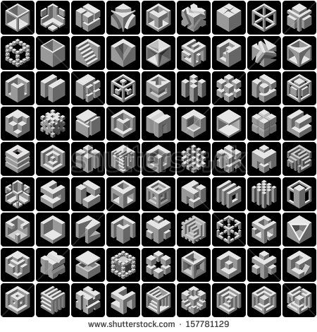 81 3d cube icons set | Geometría in 2019 | Cube design, Art