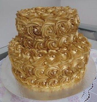 Bolo Dourado Chantilly Bolodourado Decoracaodourada