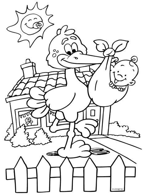 dasmalbuchde  storch baby geburt  baby coloring pages