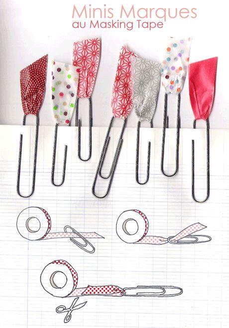 Trombones + masking tape = d'adorables marque-pages faciles à faire ! (motifs samekomon, asanoha & drop)